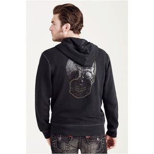 True Religion Men's Zip Up Skull Hoodie Sweatshirt